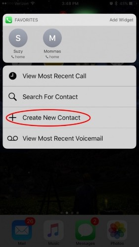 How to Create a New Contact with 3D Touch