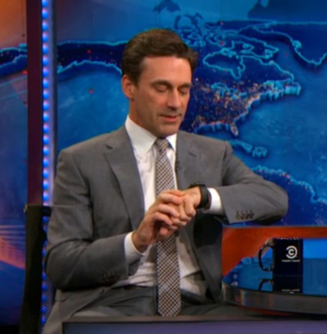 Jon Hamm Shows Off Apple Watch on the Daily Show