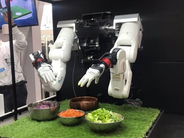 2017国際ロボット展:タオル畳み、サラダ盛り付け 「指動く」ロボット初公開(動画あり)