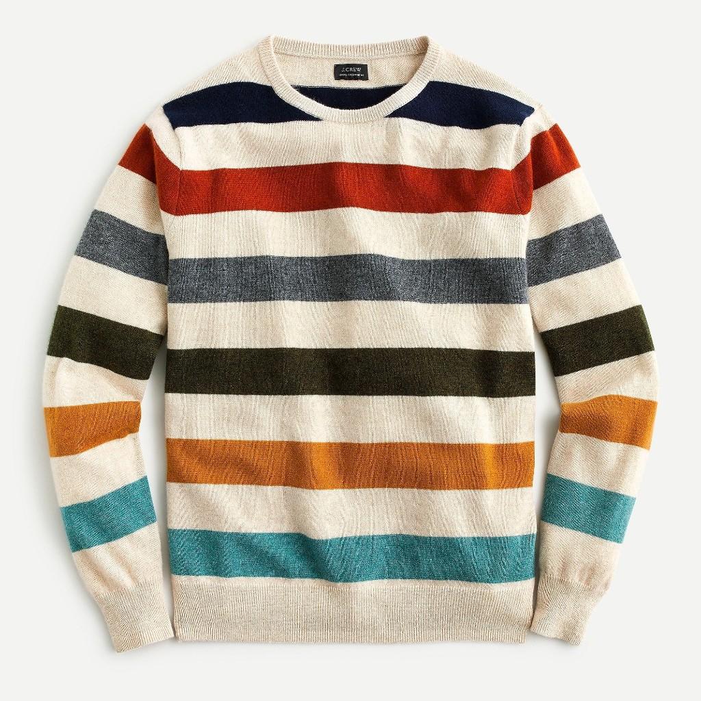 Everyday cashmere crewneck sweater in multicolor stripe