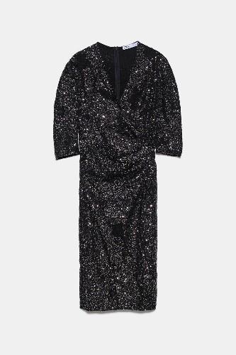 Robe à paillettes Zara - 15 robes à paillettes pour illuminer ses fêtes de fin d'année - Elle