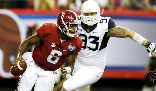 Alabama sticks with Blake Sims in a 33-23 win over West Virginia - Los Angeles Times