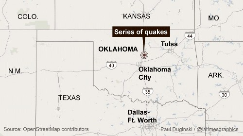At least 4 earthquakes, including a 4.3, strike central Oklahoma - Los Angeles Times