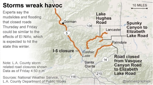 L.A. County mudslides trap numerous cars; I-5 closed to traffic