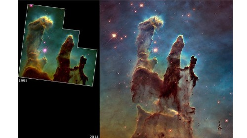 Still haunting: Hubble updates classic image of 'Pillars of Creation' - Los Angeles Times