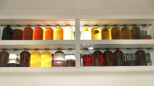 By the number: The fermentation bottles on Dave Beran's wall at Dialogue