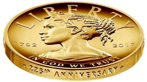 Liberty is depicted as a black woman on new $100 gold coin