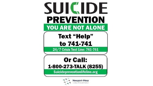 Newport-Mesa posting suicide prevention signs at middle and high schools - Los Angeles Times