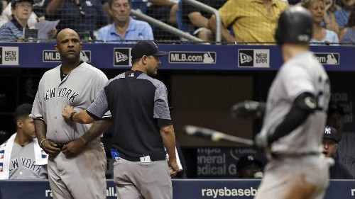 MLB: Yankees' CC Sabathia banned five games for hitting batter, appeals - Los Angeles Times