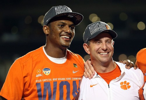 Clemson's Dabo Swinney and Alabama's Nick Saban discuss CFP title game