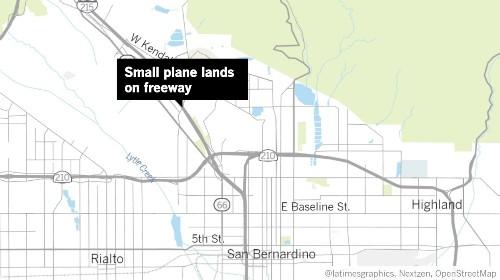 Small plane lands on 215 freeway in San Bernardino