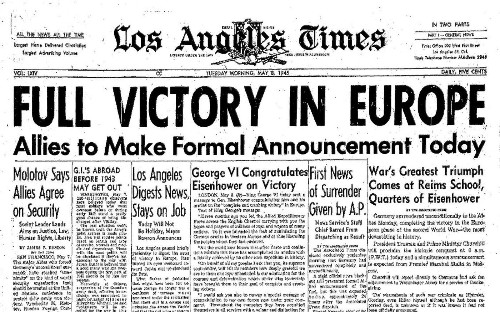 Our editorial from May 8, 1945: 'End of the War in Europe'