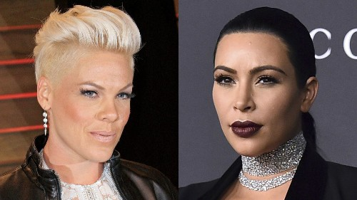 Pink tells women, keep your clothes on; Kim Kardashian says stop slamming her for taking 'em off