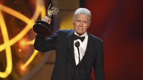 'Jeopardy!' host Alex Trebek's Emmy Award comes with an ovation