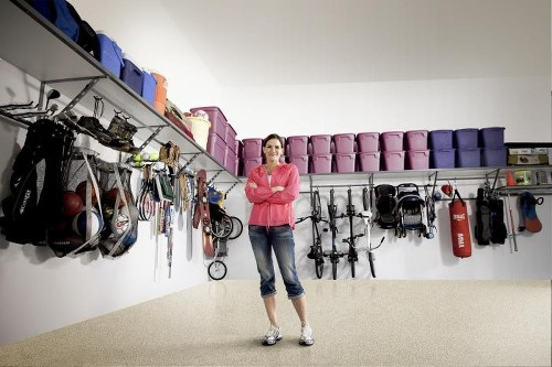 Here's the secret to organizing your garage: Use the walls — and ceiling