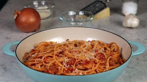 Making pasta all'Amatriciana, the classic Italian pasta dish