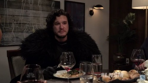 Seth Meyers brings Jon Snow to a dinner party. It goes as you'd imagine.