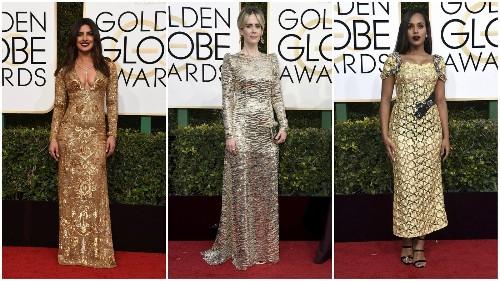 Golden Globes red carpet fashion: necklines plunge south, metallics shine and women wear menswear