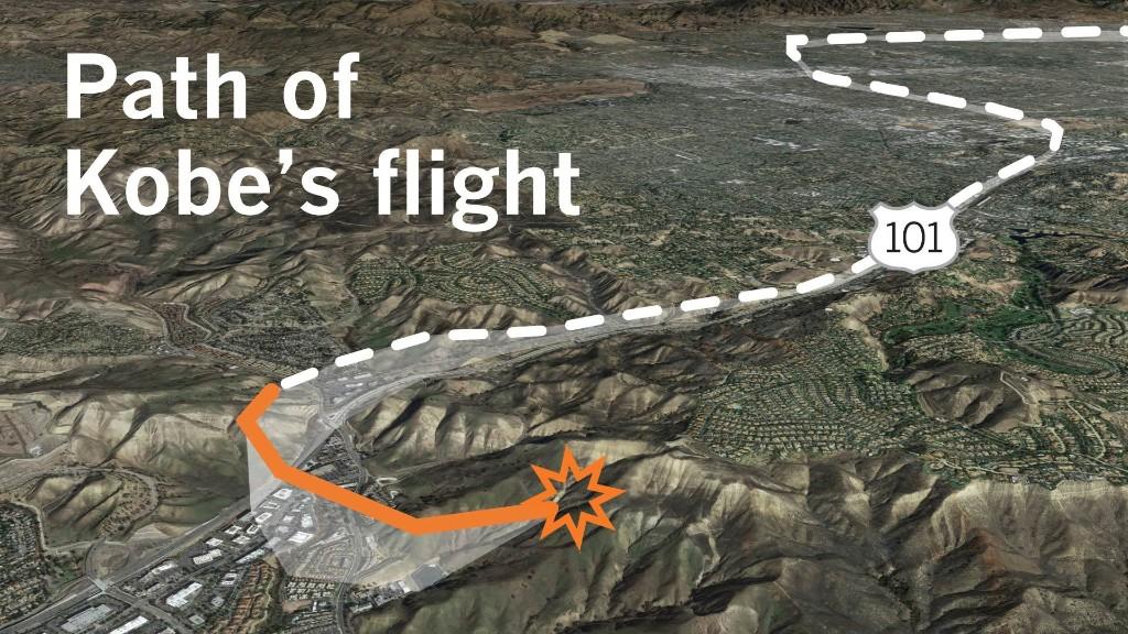 Kobe Bryant detailed helicopter flight map