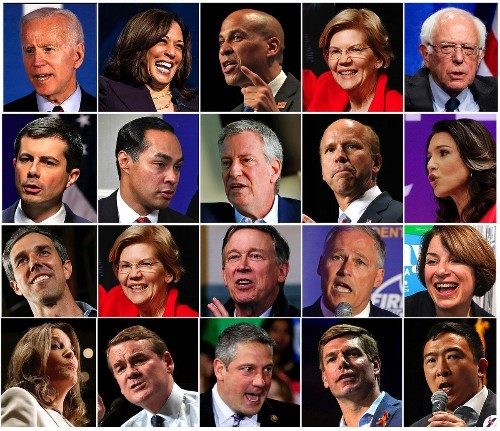 Who are the candidates on the Democratic debate stage?