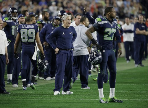 A Super Bowl pass is picked off and Pete Carroll quickly is picked on - Los Angeles Times