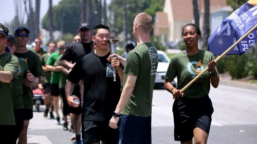 Officers carry the 'Flame of Hope' through Burbank and Glendale