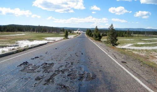 Yellowstone National Park road melts into 'soupy mess'