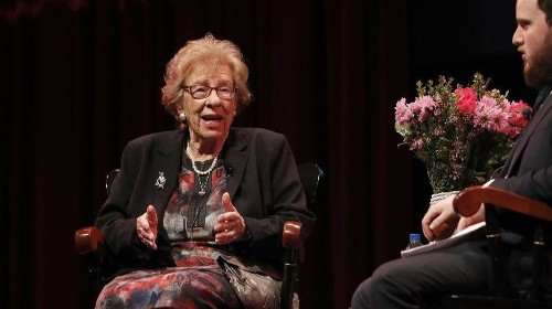 Eva Schloss, step-sister of Anne Frank, speaks in O.C., just days after students posed with swastika