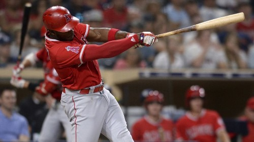 Angels' Justin Upton hits a home run in his first at-bat of season