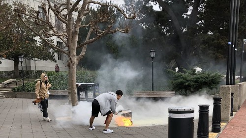 Coming in hot: Food delivery robot bursts into flames