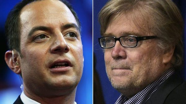 Trump names Priebus and Bannon as top White House aides and says deportations will begin immediately