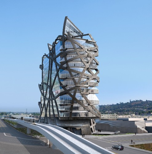 This L.A. office building is crazier than it looks: Its steel bands are an exoskeleton