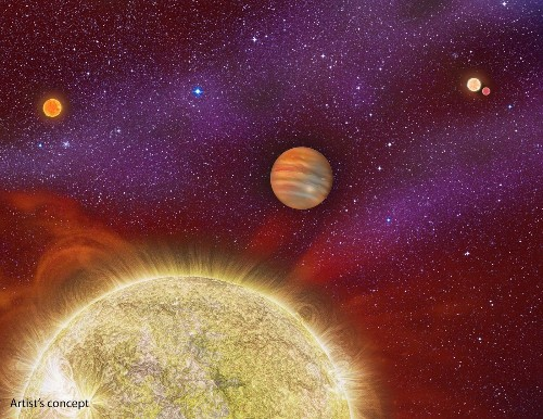 Spotted: A planet 10 times the size of Jupiter with four suns