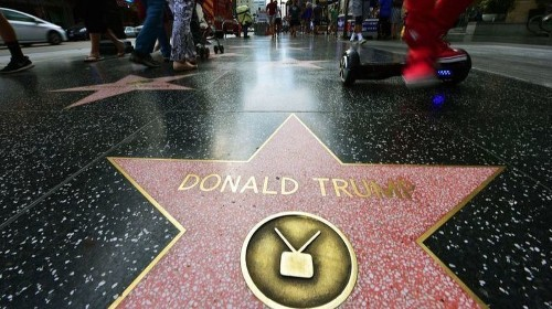 Trump's star on Hollywood Walk of Fame is defaced by a vandal — again