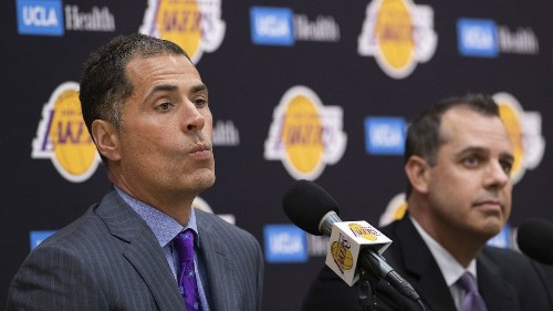 Podcast: Lakers general manager Rob Pelinka faces the media