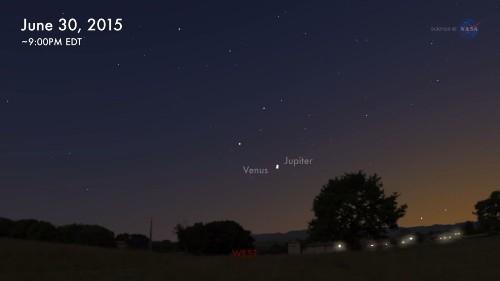 Tonight, Jupiter and Venus meet in a summer sky