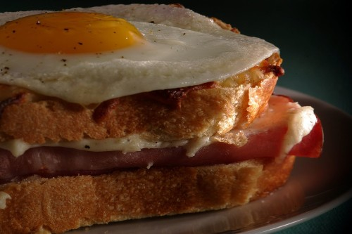 Make breakfast for dinner with this croque-madame sandwich recipe