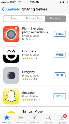 Apple adds 'Selfie' section to App Store