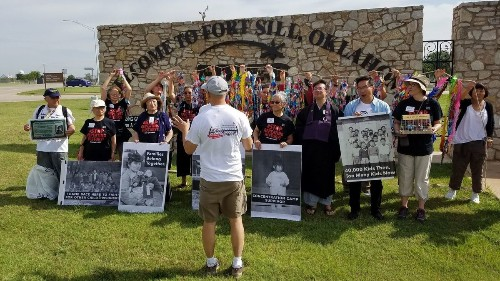 Japanese internment camp survivors protest Ft. Sill migrant detention center