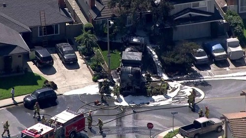 Trash truck catches fire, rolls onto front lawn of Monterey Park home