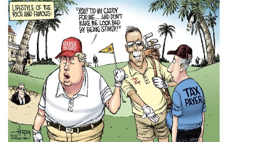 Taxpayers pick up the tab for Trump's pricey golf excursions - Los Angeles Times