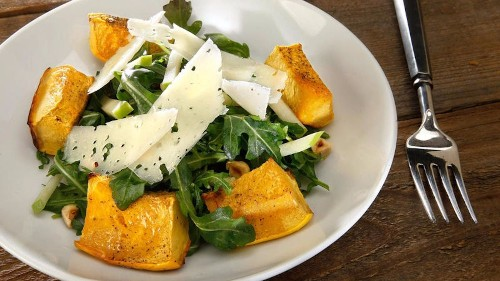 Try this roasted acorn squash and apple salad recipe for Meatless Monday