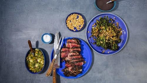 Grilled Rib-Eye Steak with Pistachio Gremolata and Charred Balsamic Broccolini