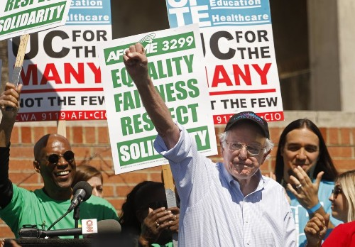 Bernie Sanders, at UCLA, highlights his longtime support for organized labor