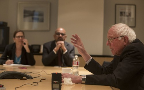 Bernie Sanders discusses his prospects of beating Donald Trump with the L.A. Times editorial board