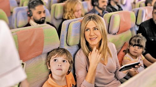 In an ad featuring Jennifer Aniston, Emirates Airlines asks: 'Who needs tablets and laptops anyway?' - Los Angeles Times
