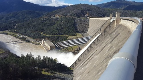 Shasta Dam makes history as water flows from top gates for first time in 20 years