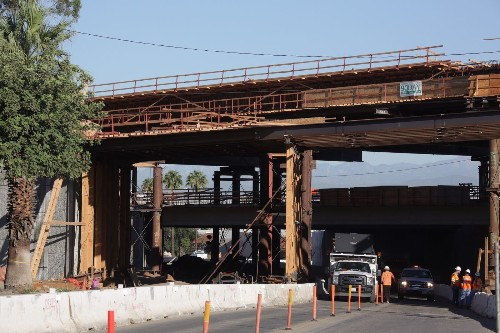10 construction workers injured in freeway bridge collapse in Corona