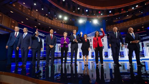 The 2020 Democratic debates: A pop of red, a naked neck and a sea of navy blue