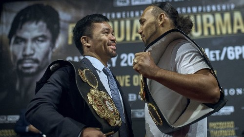 Manny Pacquiao tells Keith Thurman he'll retire on his own terms as boxers verbally spar